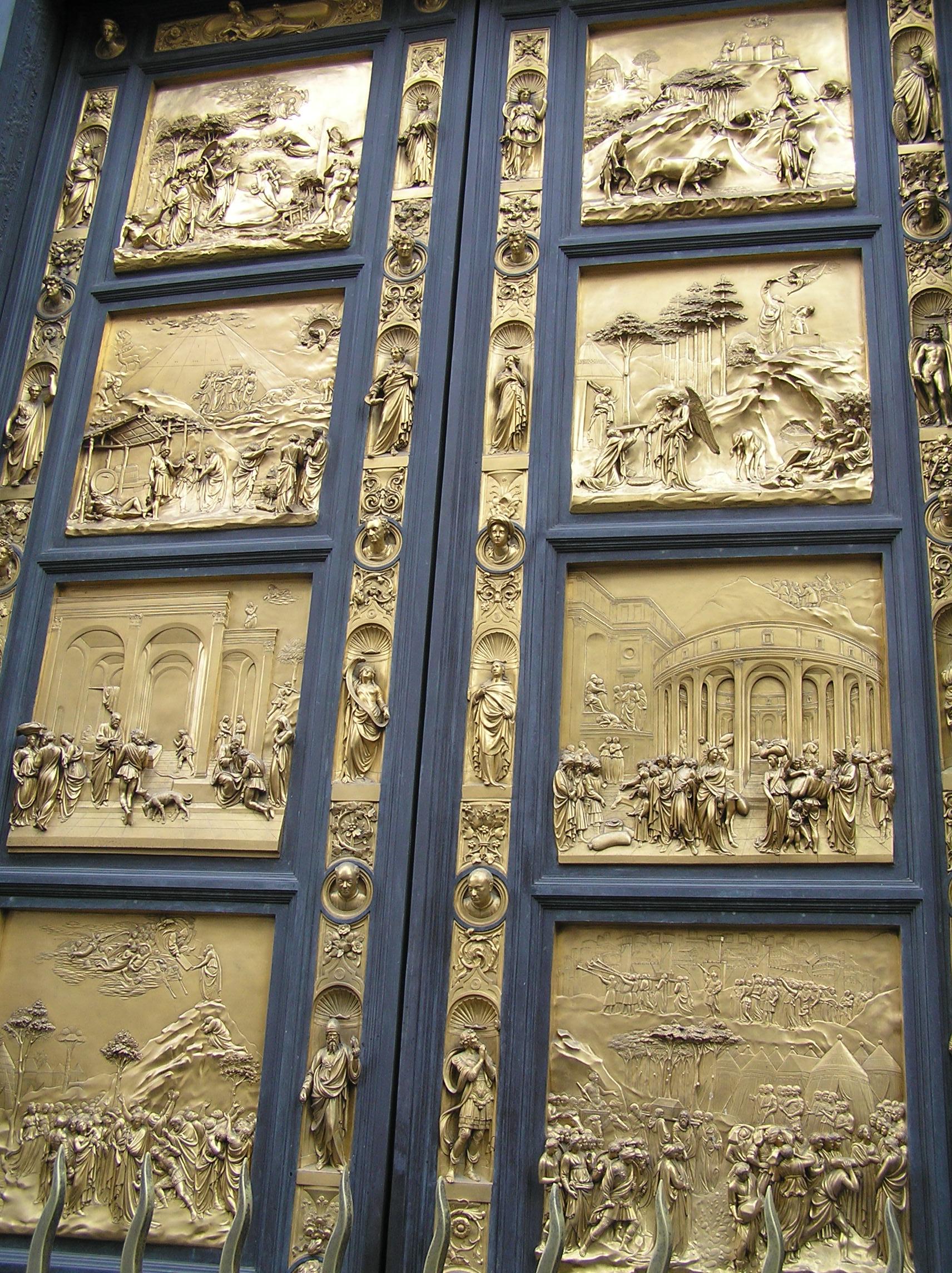 Itálie, Florencie - východní dveře baptisteria, odlité z jednoho kusu, 1424-52