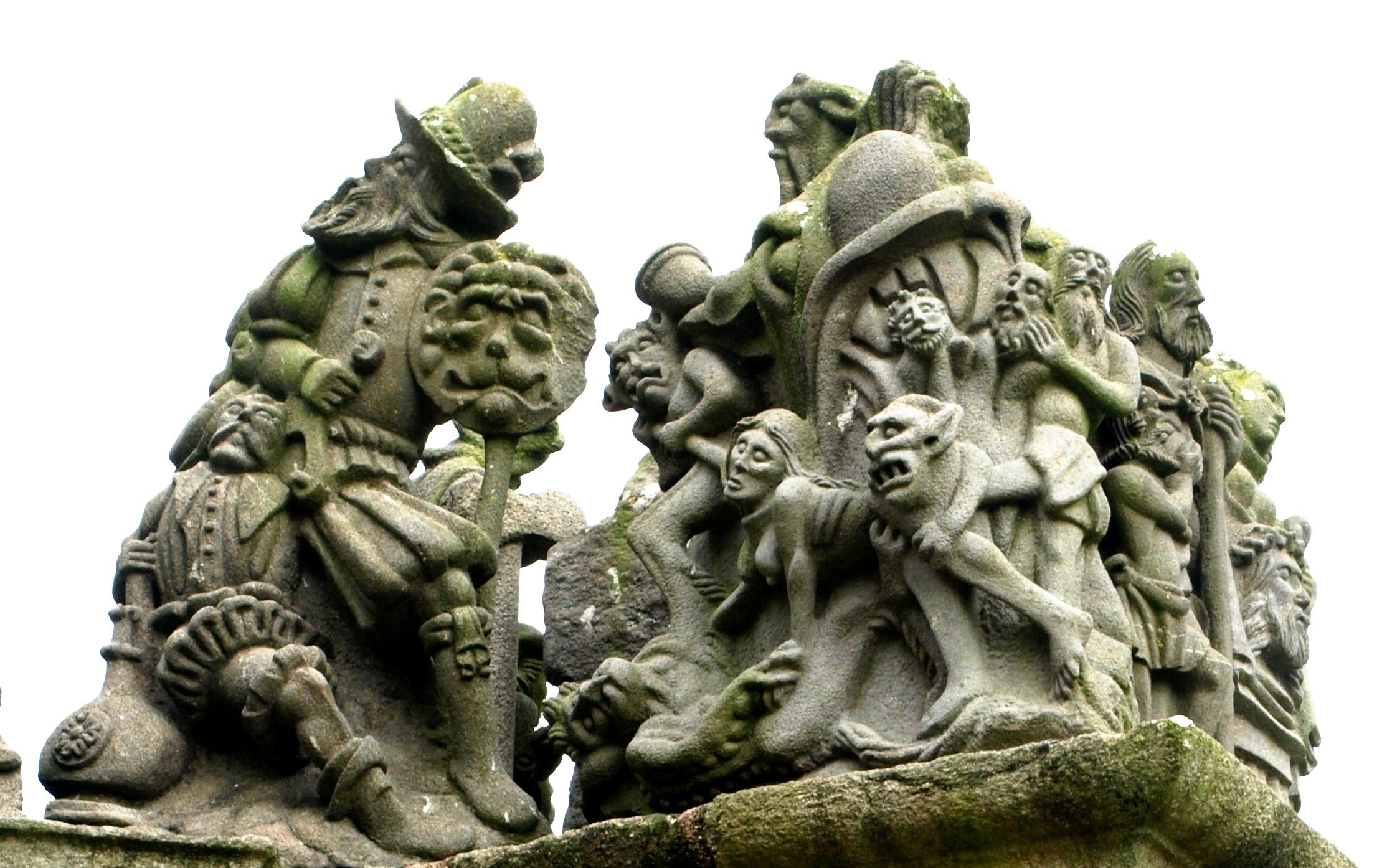 Francie - Bretaň - Guimiliau, Kalvárie, Cate Golet (Zatracená Kateřina), hříšnice odnášená čerty, modelem stála asi místní kráska která dala kameníkovi kopačky