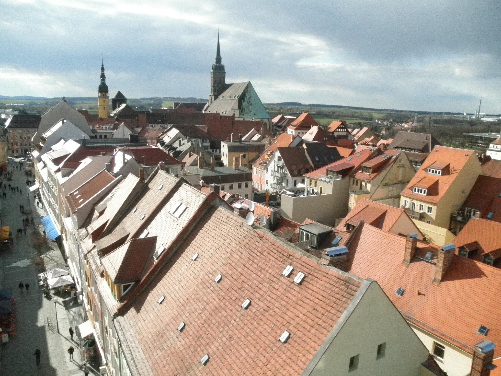 Německo - Lužice - Budyšín, pohled z Bohata wěža, uprostřed dóm S.Petri