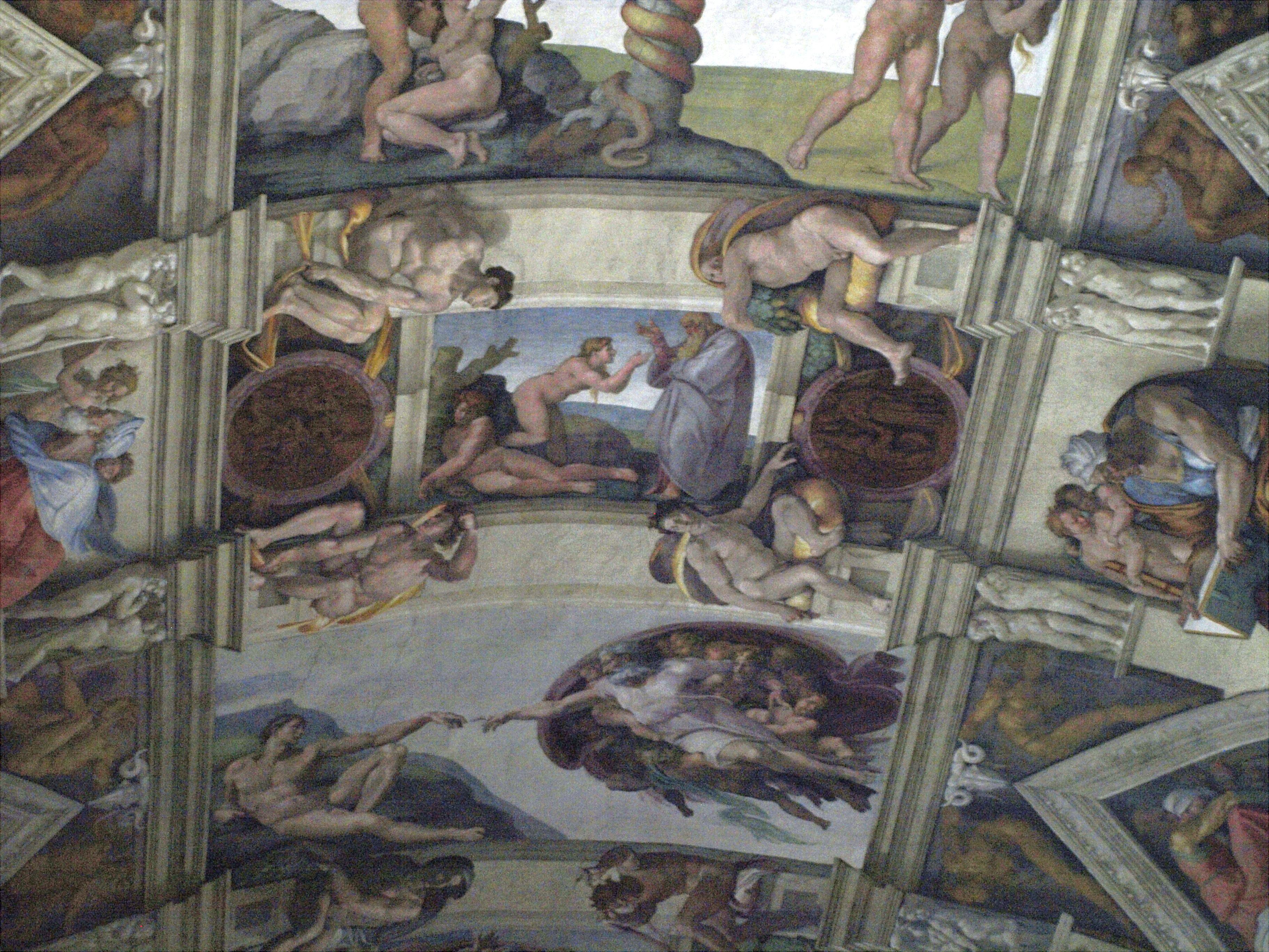 Řím - Sixtinská kaple, zhora Stvoření Evy, Stvoření Adama, Michelangelo, 1508-12