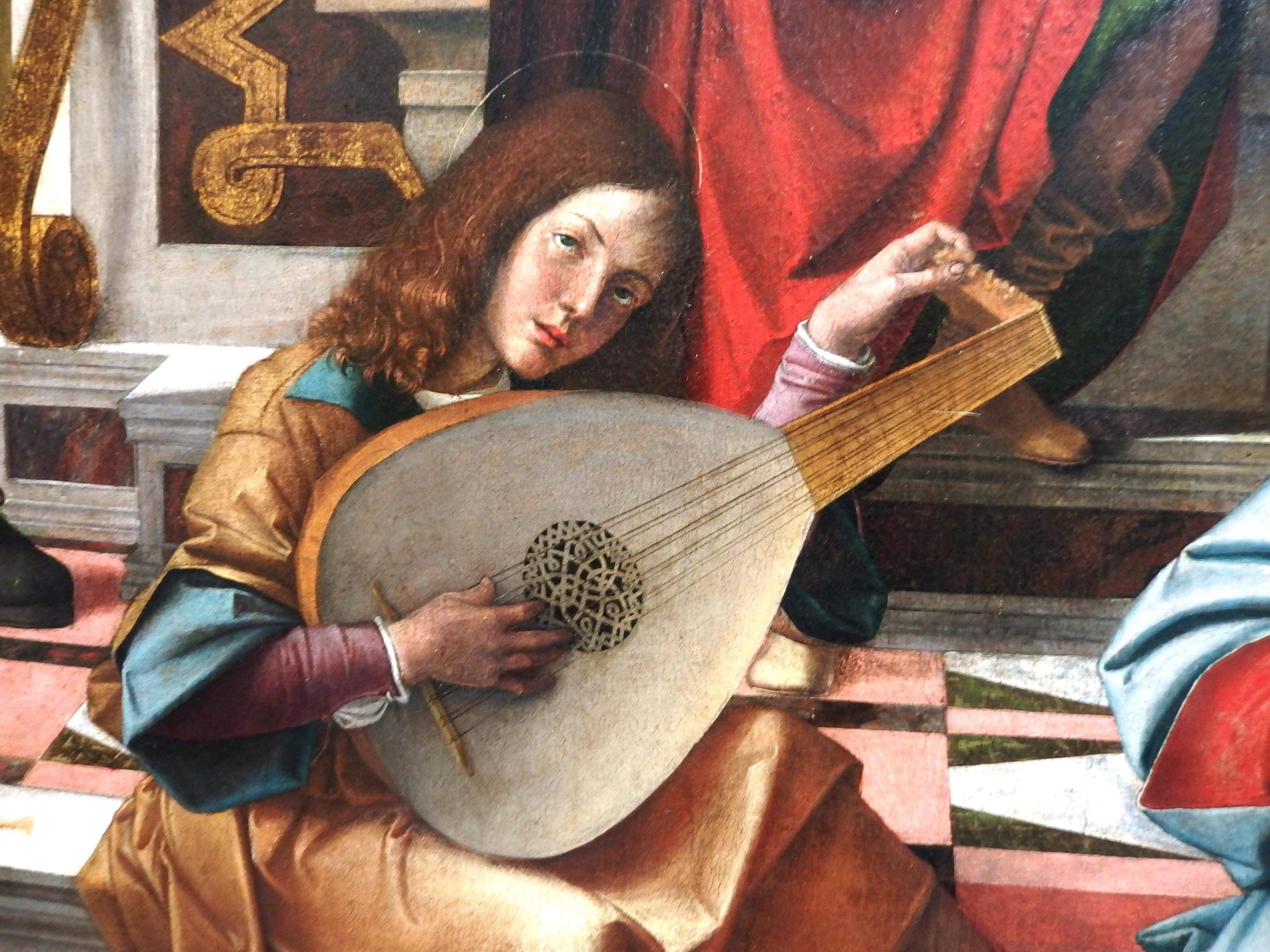 Itálie - Milán - Pinacoteca di Brera, Madona na trůnu, B.Montagna, 1499, detail anděle - hudebníka