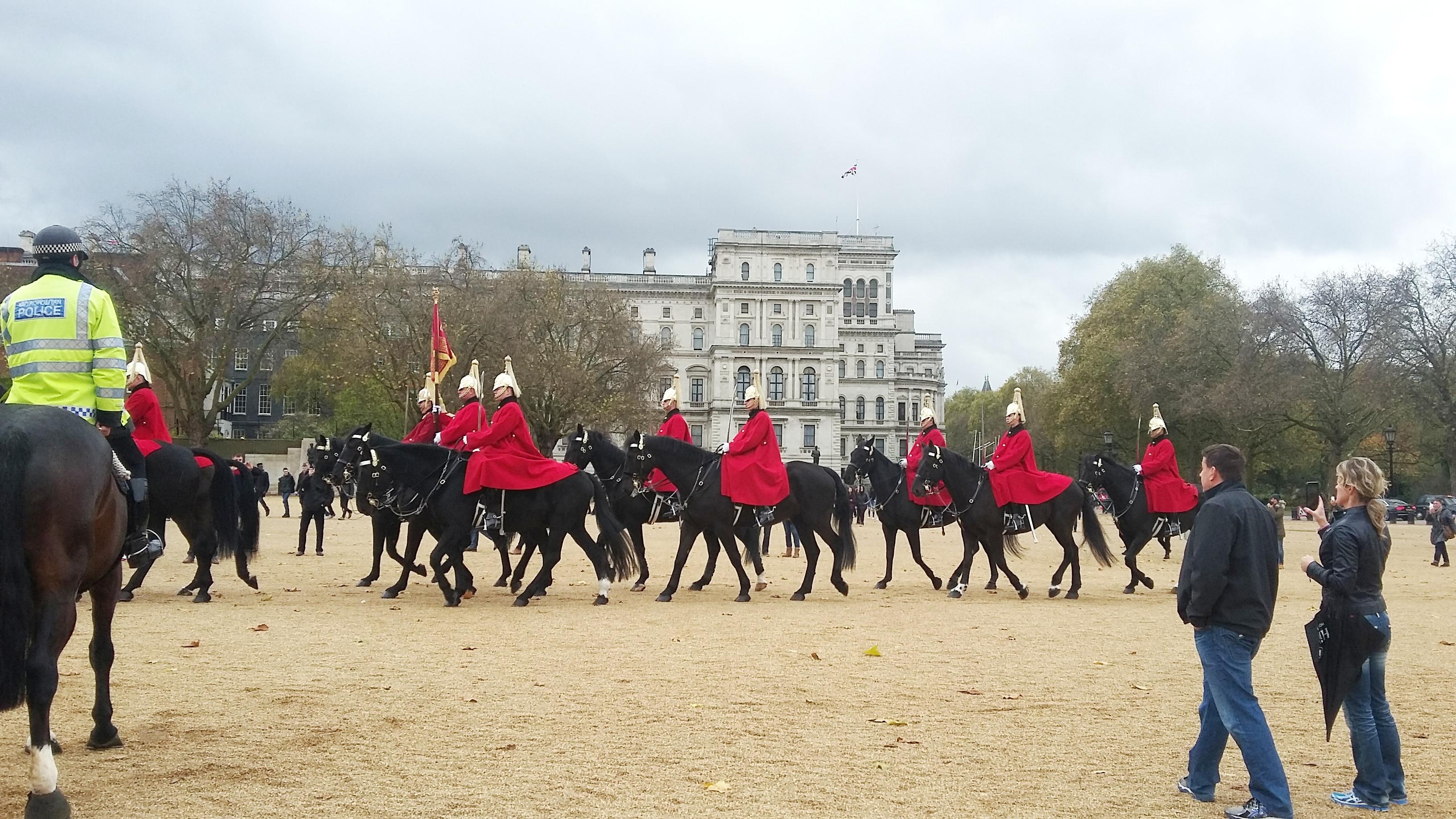Velká Británie - Anglie - Londýn, tzv. Horse Guards Parade, účastní se královnina osobní stráž, foto A.Frčková