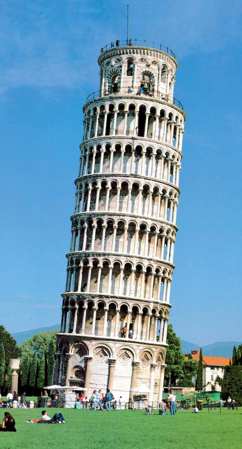 Itálie - Pisa - šikmá věž, ve skutečnosti zvonice u katedrály, 1173-1319, vysoká 55,9 m