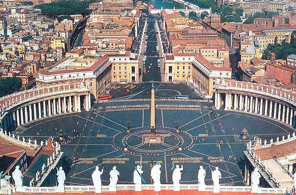 Vatikán - Řím - Svatopetrské náměstí, podoba od Alexandra II. (1655-67), kapacita 400.000 lidí