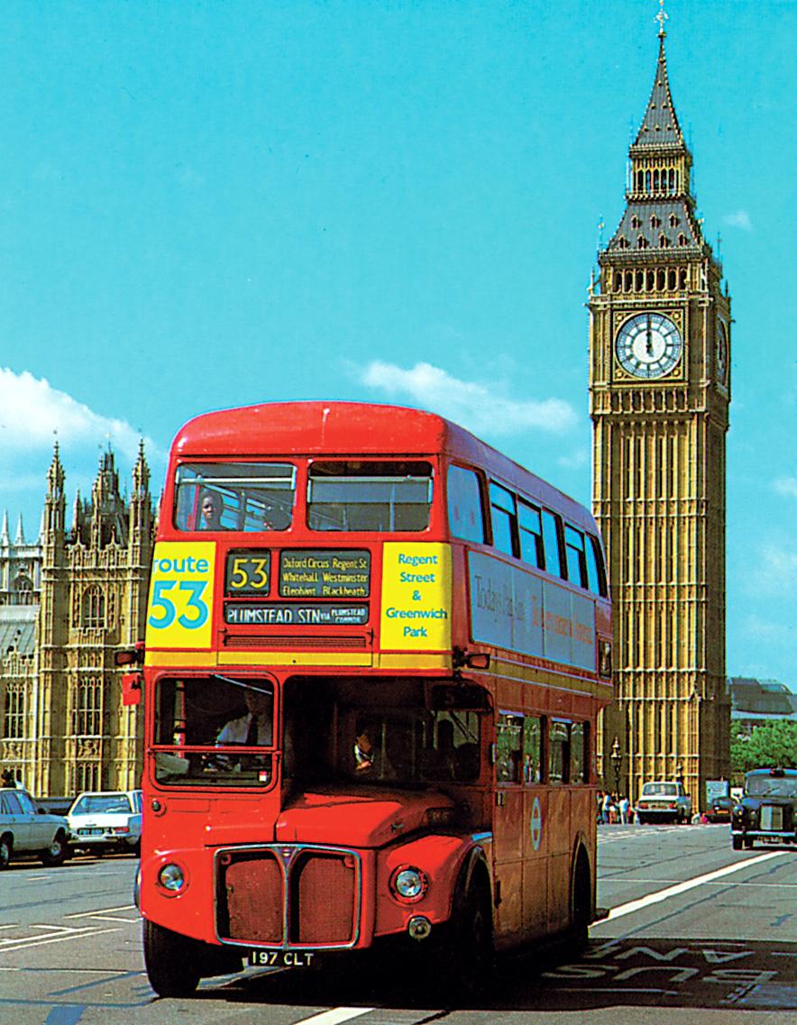 Velká Británie - Anglie - Londýn, typický patrový autobus a Big Ben