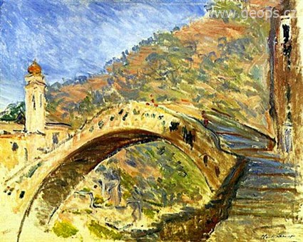 Itálie - Ligurie - C.Monet - most v Dolceacqua